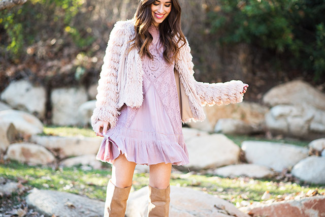 blush faux fur jacket with lace shift dress M Loves M