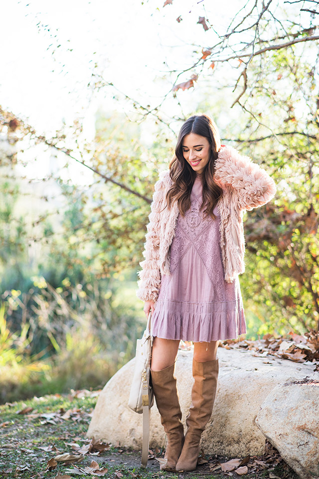 pink lace shift dress with faux fur jacket M Loves M