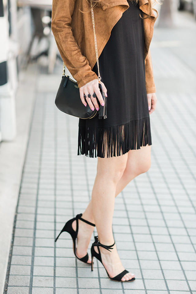 love this black fringe dress! The material is so soft so you can wear it casually too!