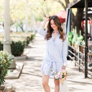preppy blue striped shirtdress on M Loves M