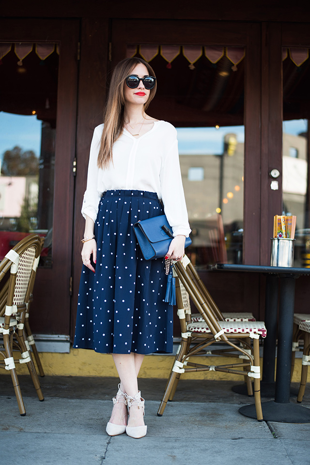 styling a polka dot midi skirt in a grown up way