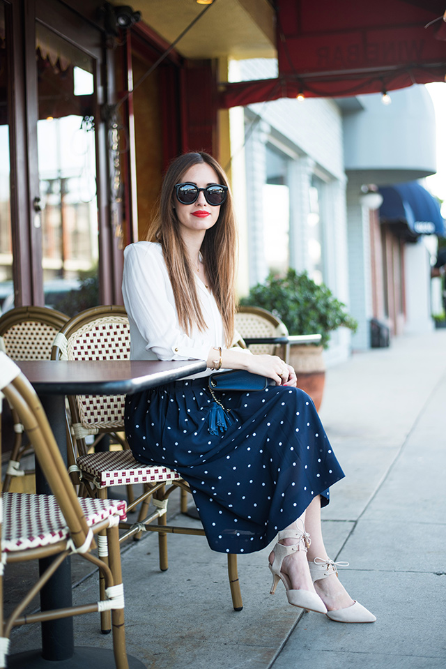 stylish and work appropriate outfit- white blouse and navy polka dot skirt