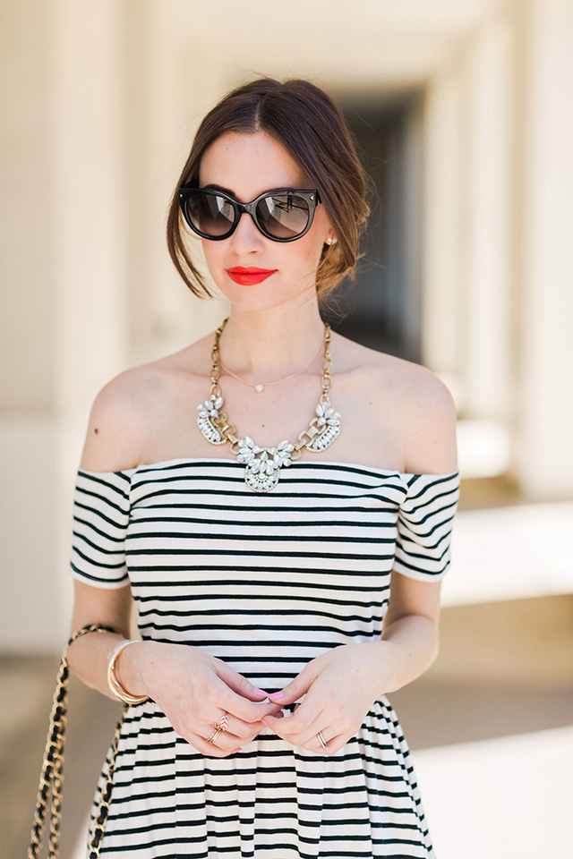 a striped dress that works for day or night M Loves M