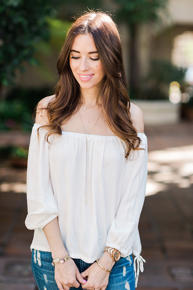 styling a white off the shoulder top for spring