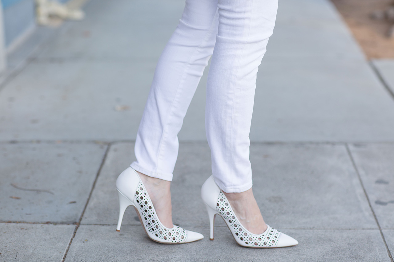 white woven heels from kate spade