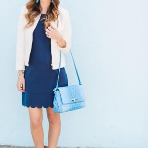 white tweed jacket with navy scalloped dress