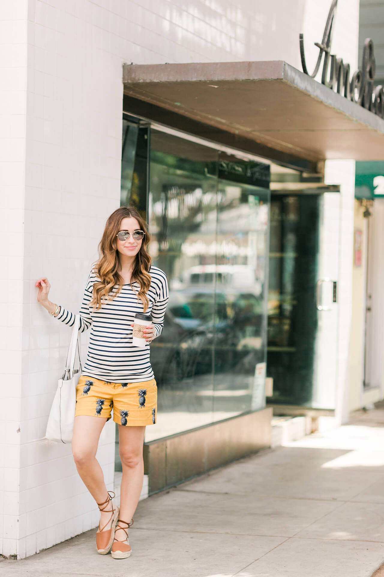 how to print mix during spring with stripes and pineapple print shorts