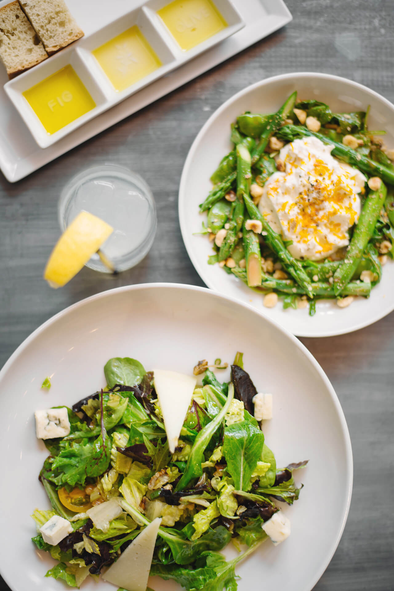 fresh healthy salads on fig and olive's spring menu