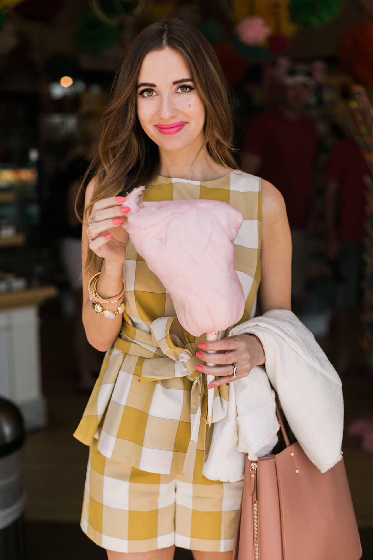 gingham two piece outfit with cotton candy