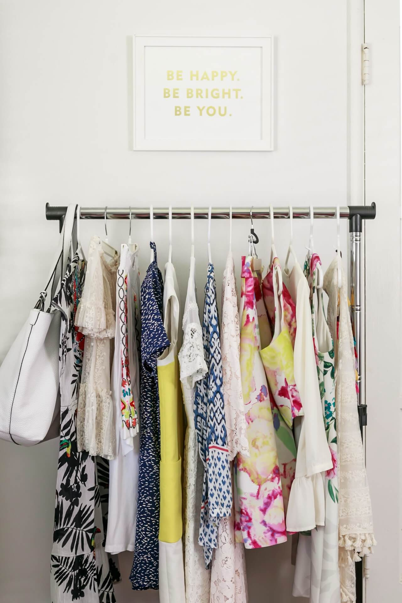 clothing rack in blogger's office and guest room