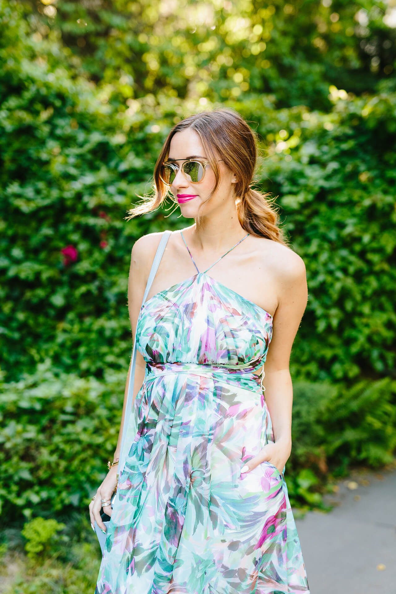 feminine spring outfit: halter maxi dress