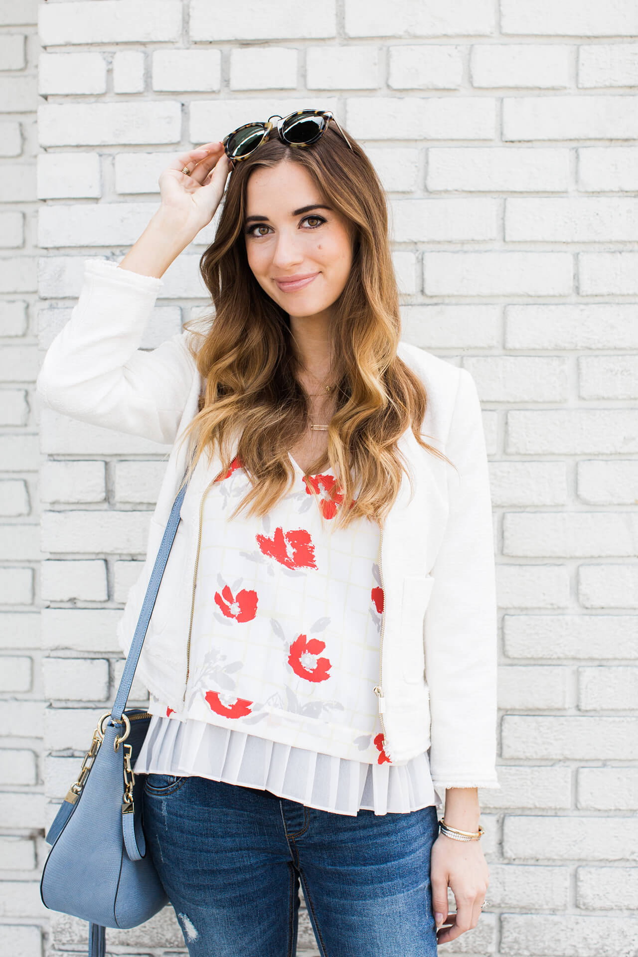 a floral top with ruffle trim