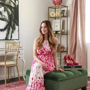Mara Ferreira of M Loves M's feminine home office design with Havenly