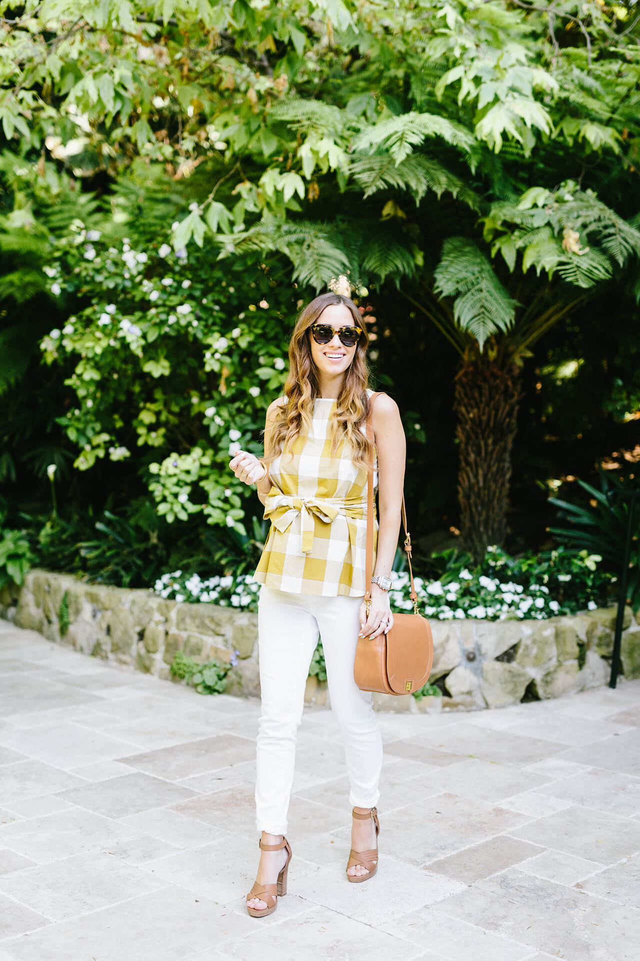 white and yellow spring outfit