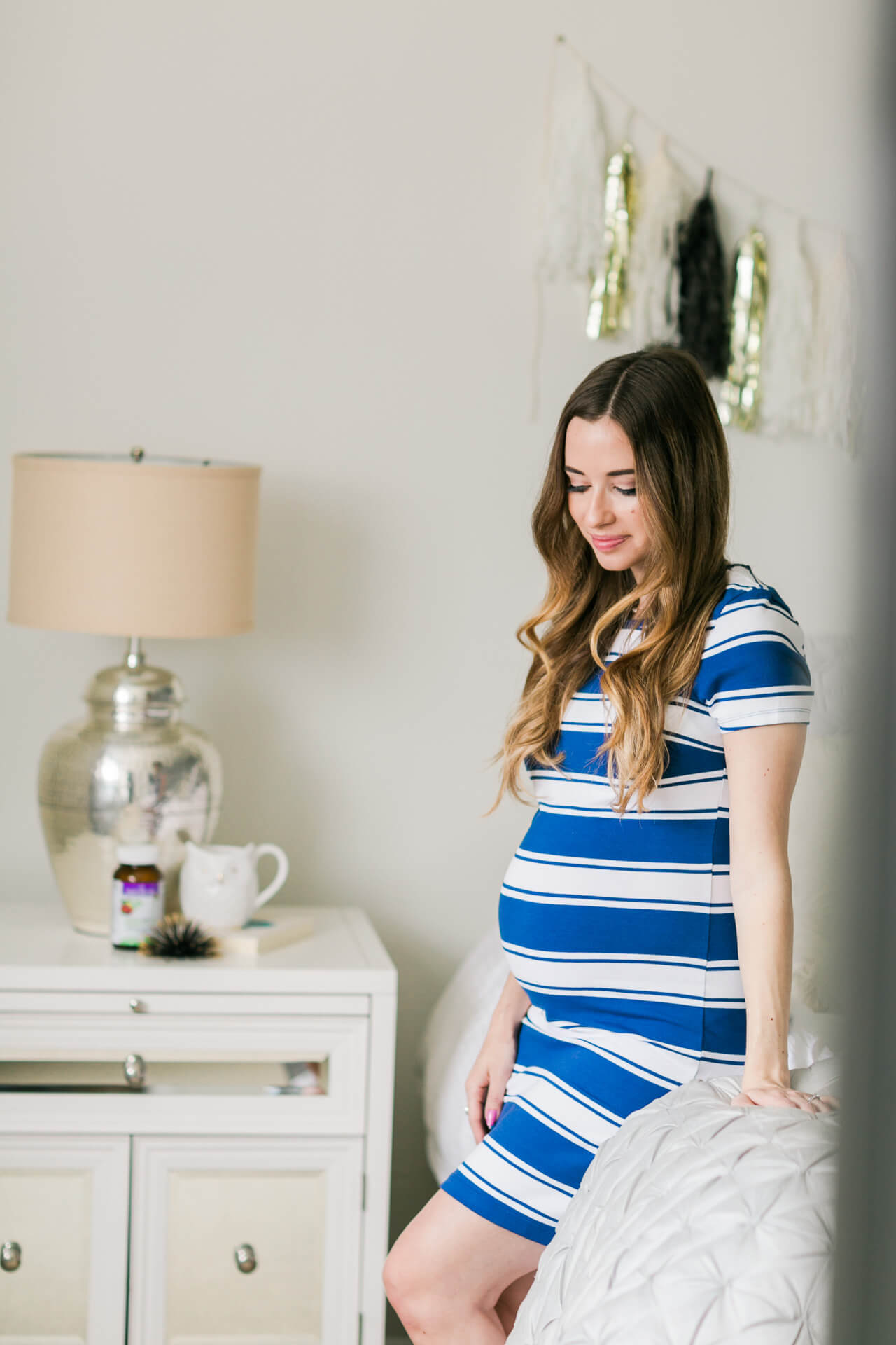 maternity style in blue striped dress