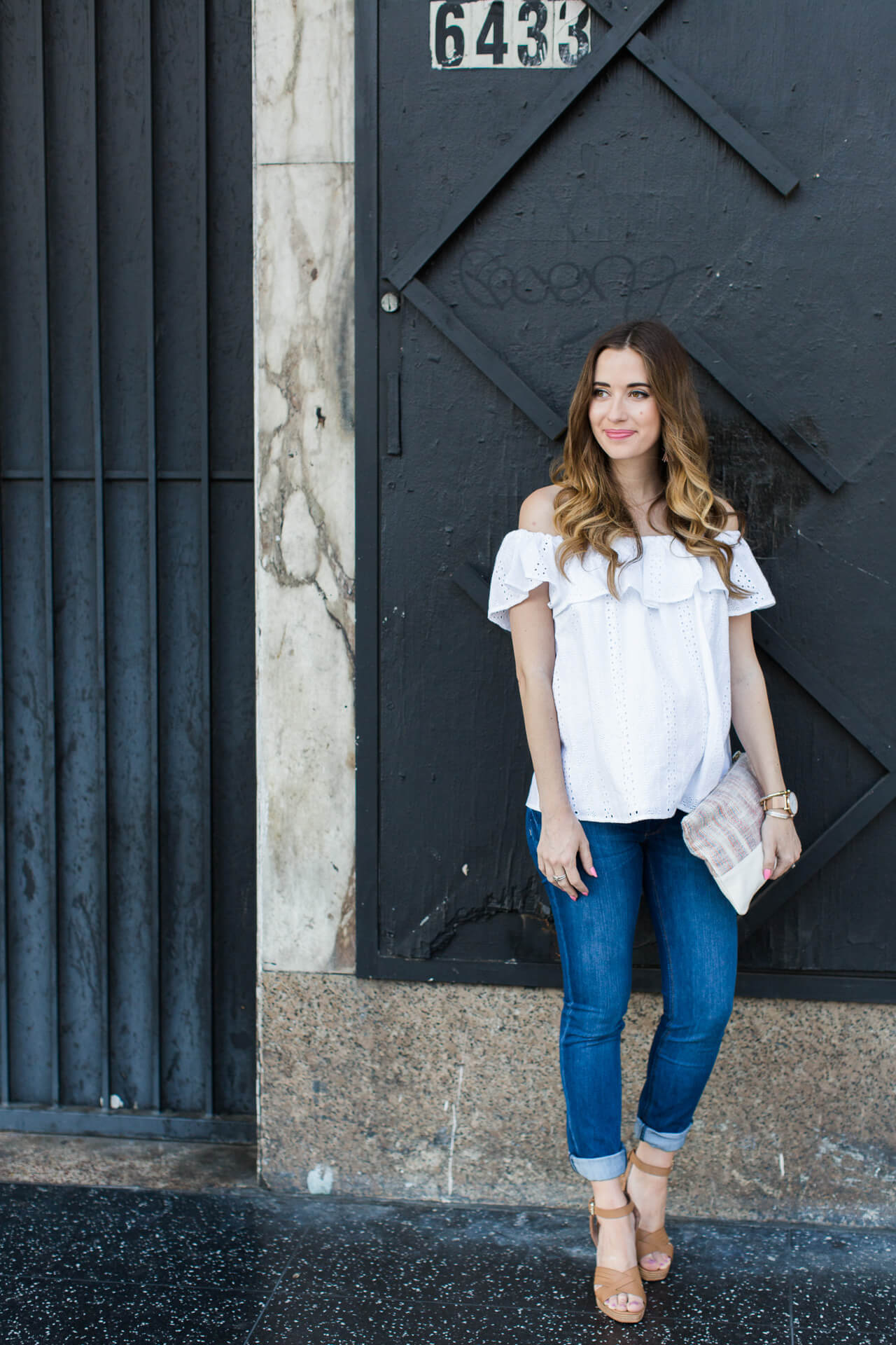 going strapless for summer with a white off the shoulder top