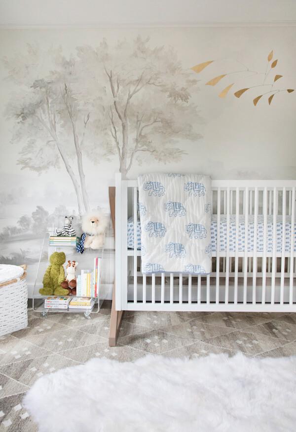 nursery with tree mural