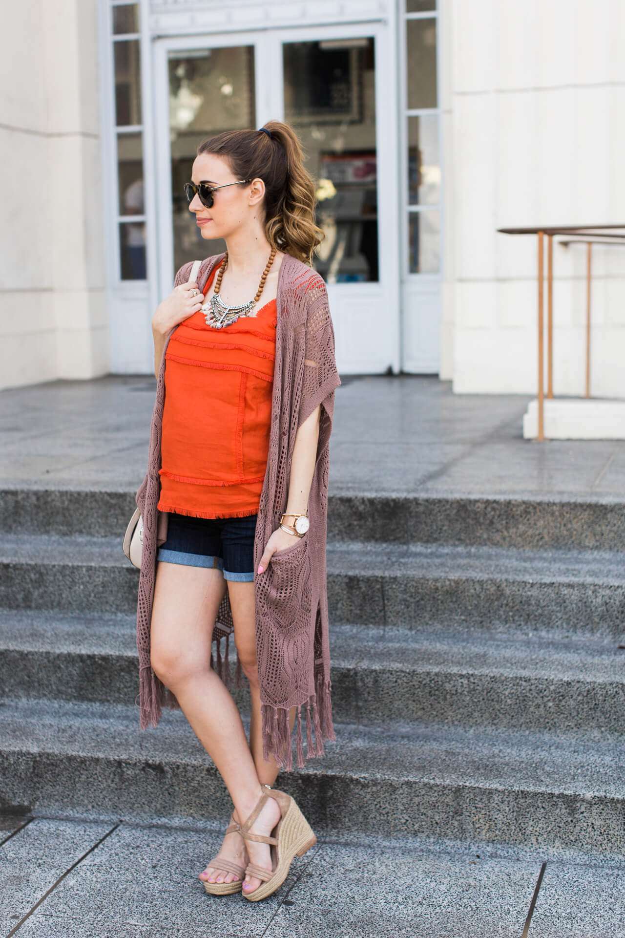 wearing a fringe tank, shorts and a maxi cardigan for summer