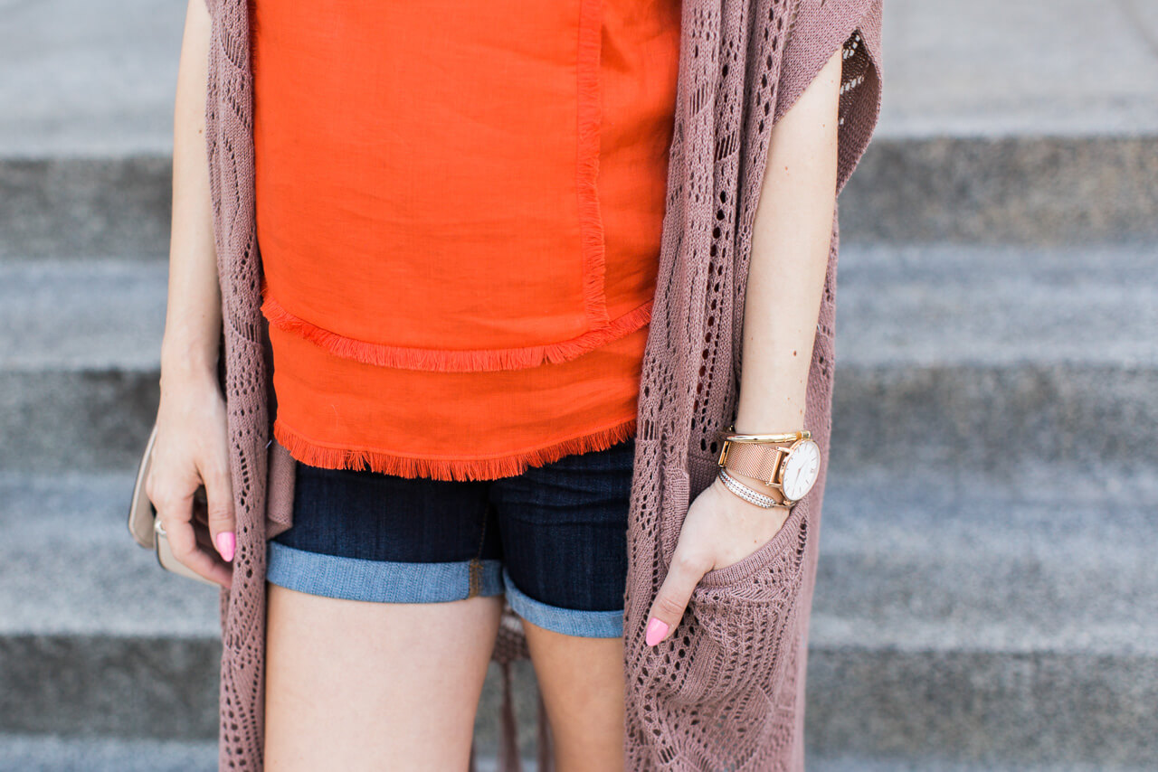 red orange tank with fringe detail from j.crew