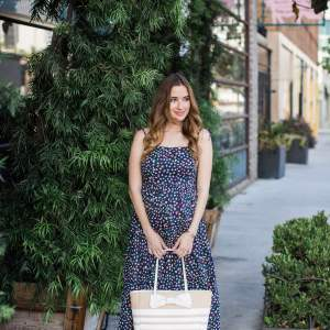 navy dot summer dress with striped kate spade tote