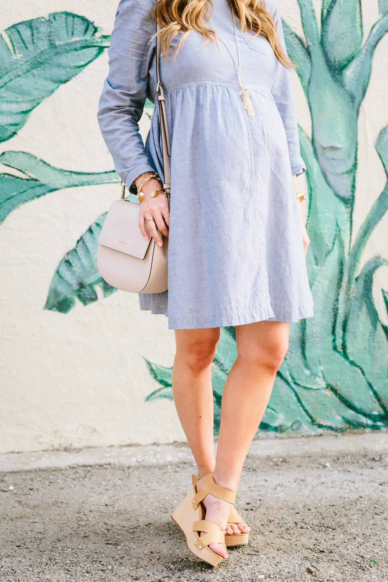 chambray dress with nude wedges