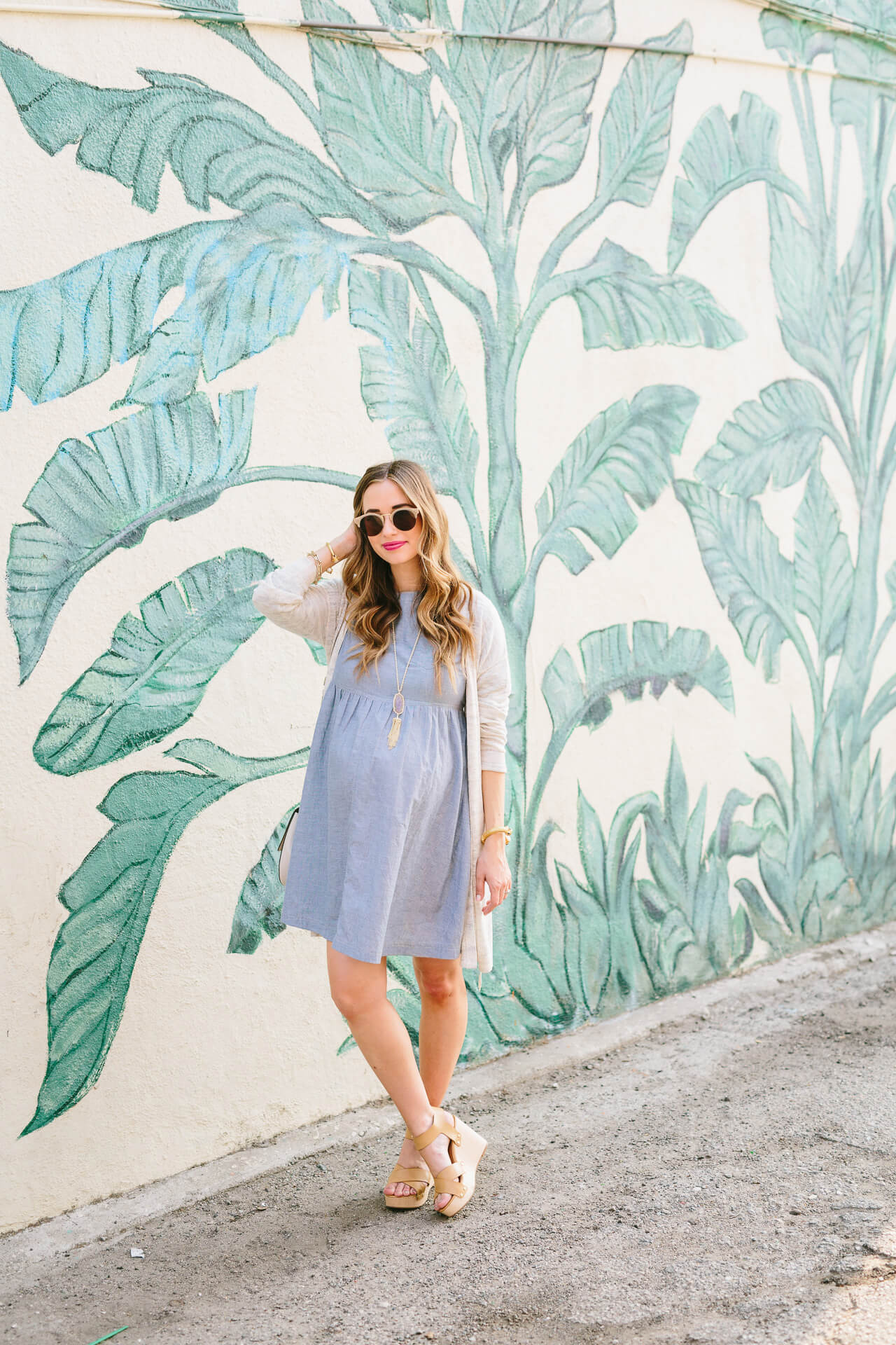outfit inspiration: chambray dress with wedges