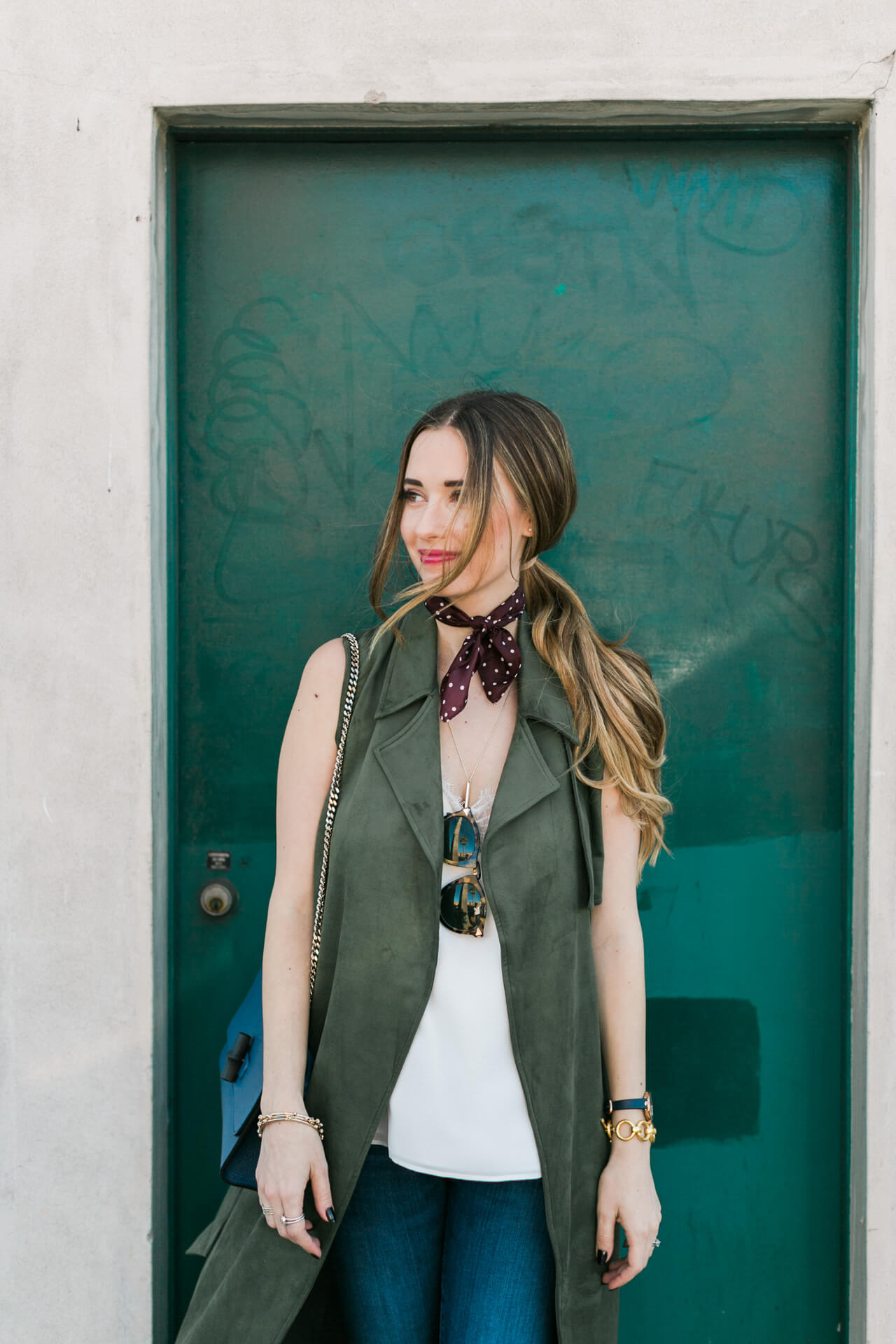 green suede trench with white tank