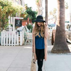 styling a casual fall outfit with a long cardigan, distressed jeans and wool hat