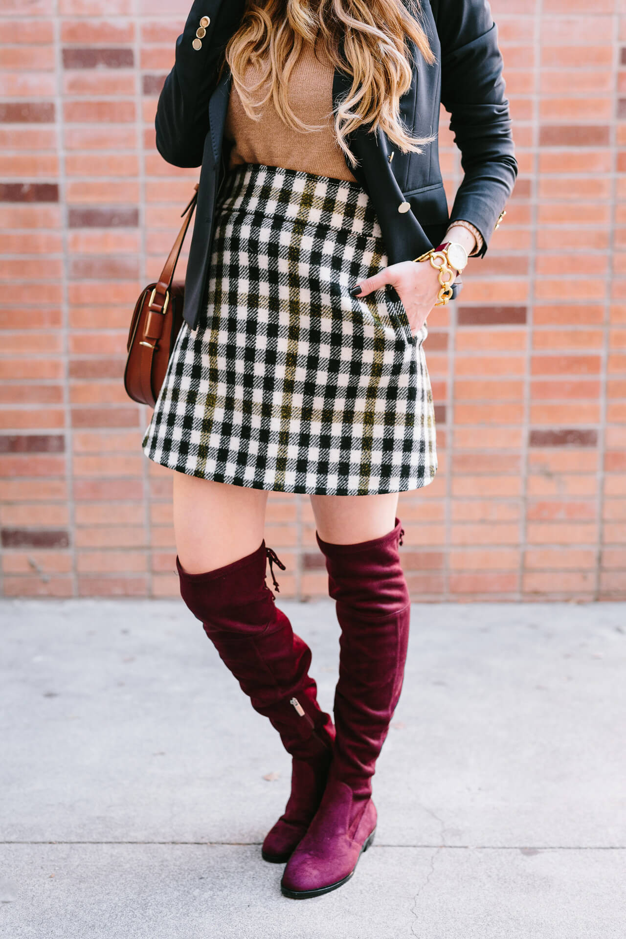 tweed skirt with over the knee boots