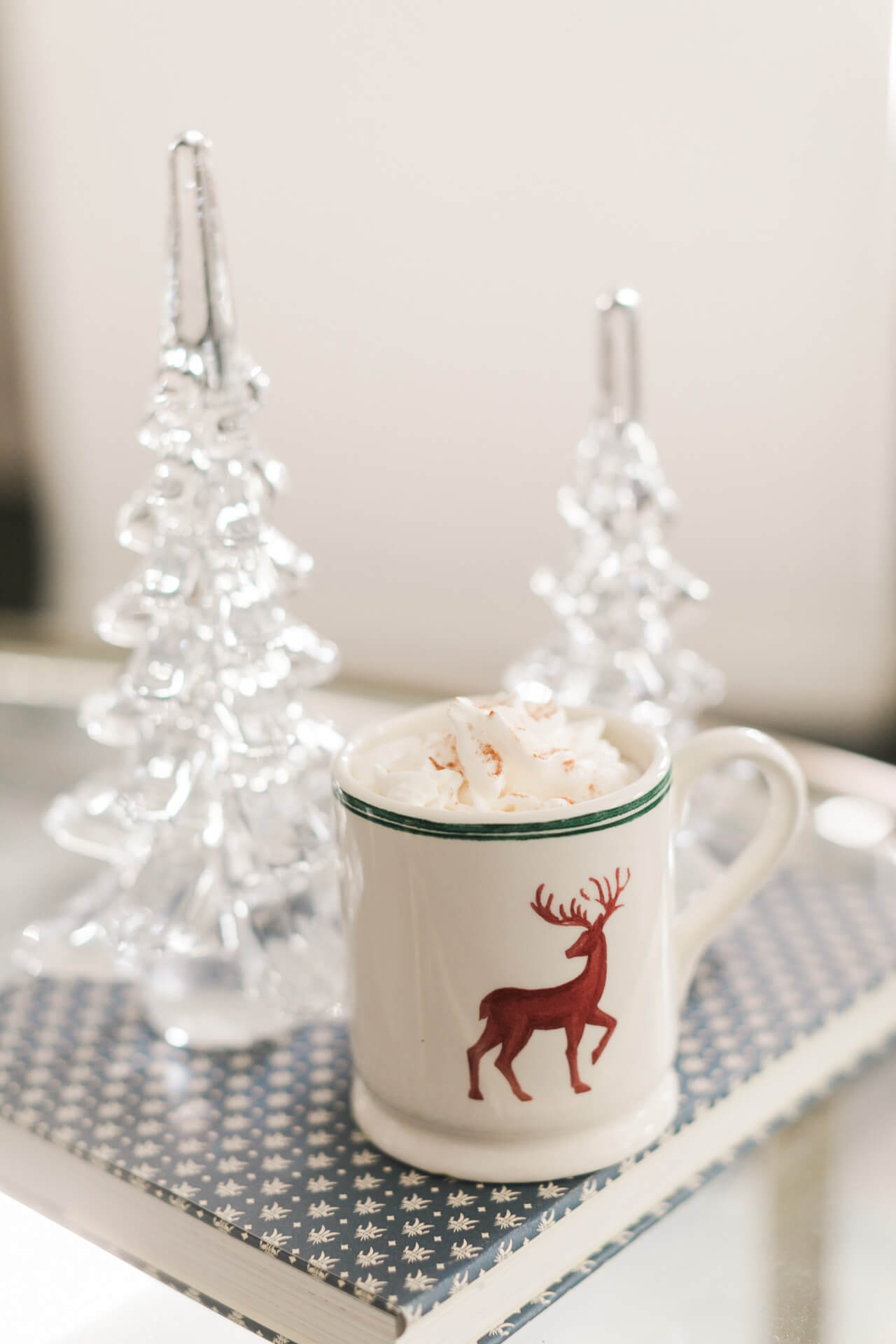 deer mug with hot cocoa for the holidays