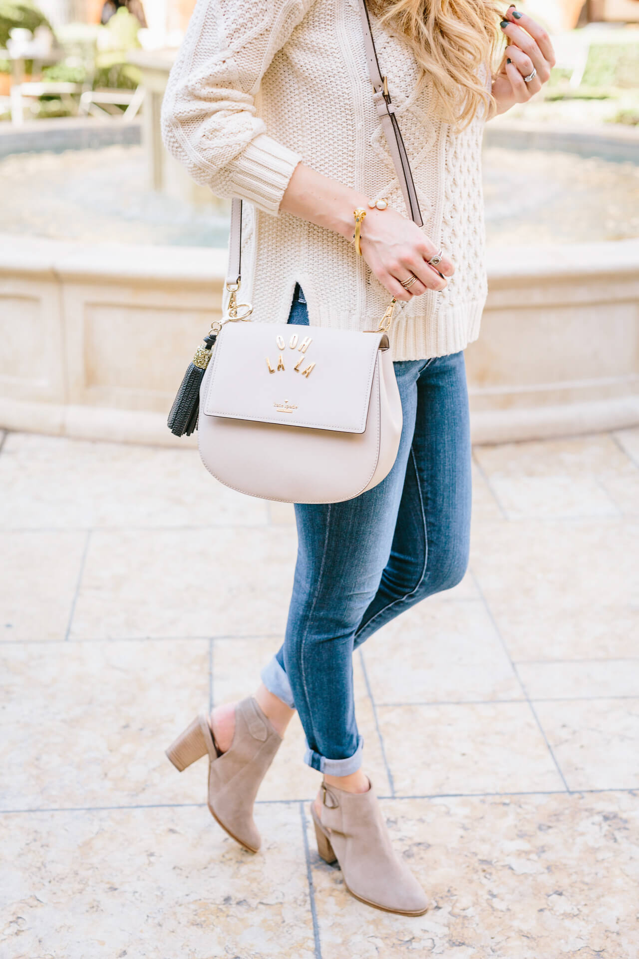 jeans with slingback ankle booties from Seychelles