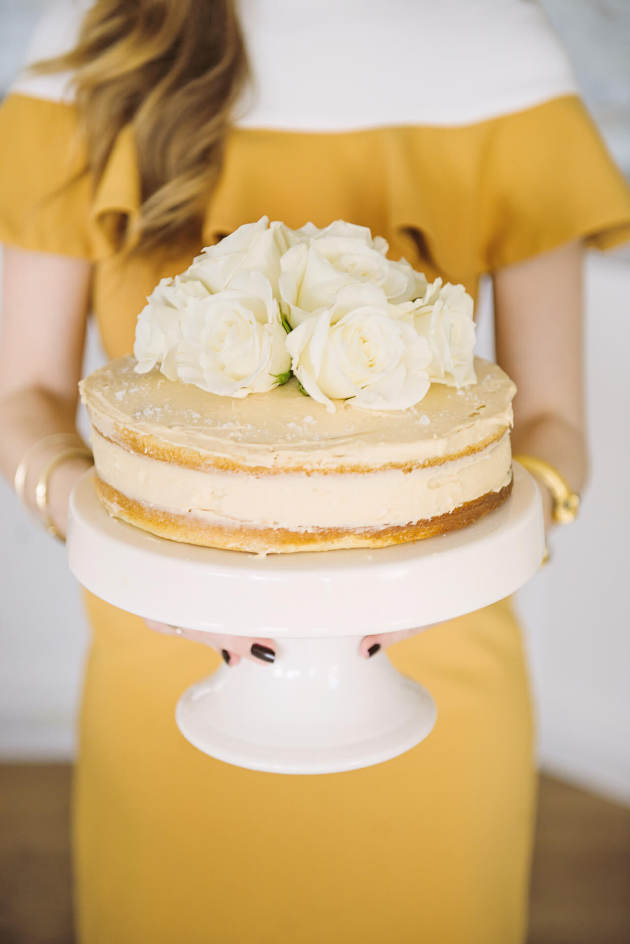 Sweet and Salty Vanilla Bean Cake with Caramel Frosting