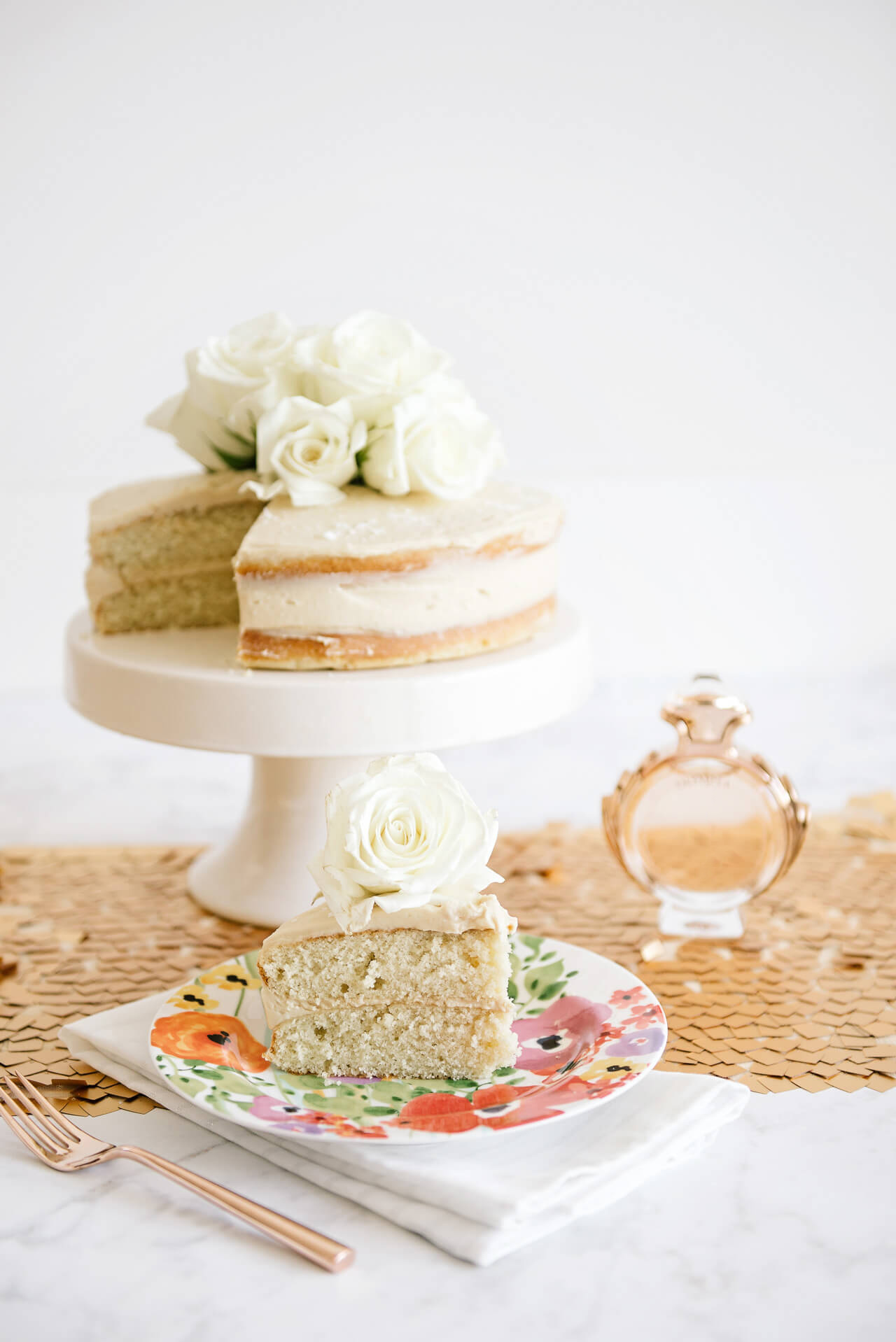 recipe for Sweet and Salty Vanilla Bean Cake with Caramel Frosting