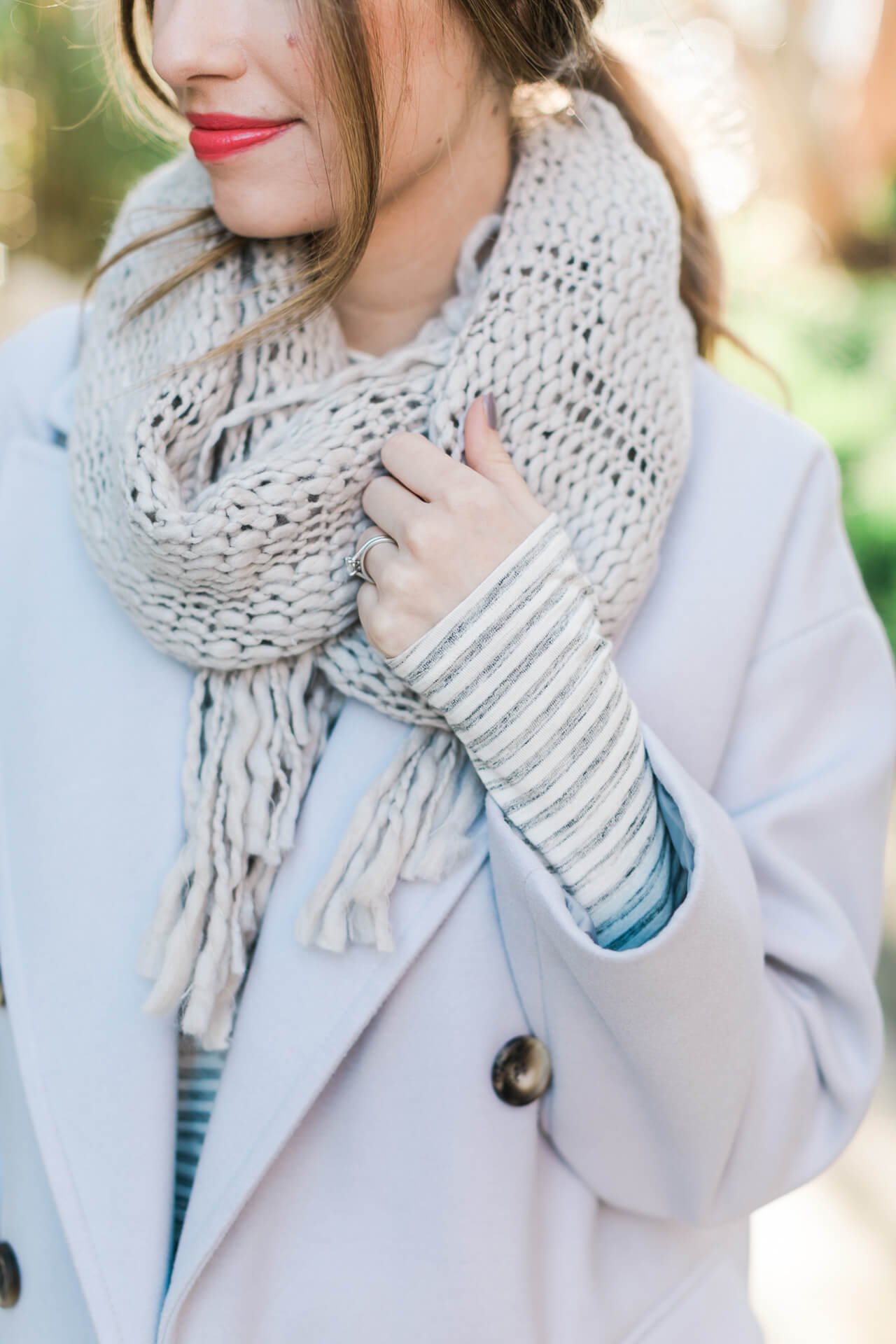 must-have fringe scarf - love it paired with this lavender coat