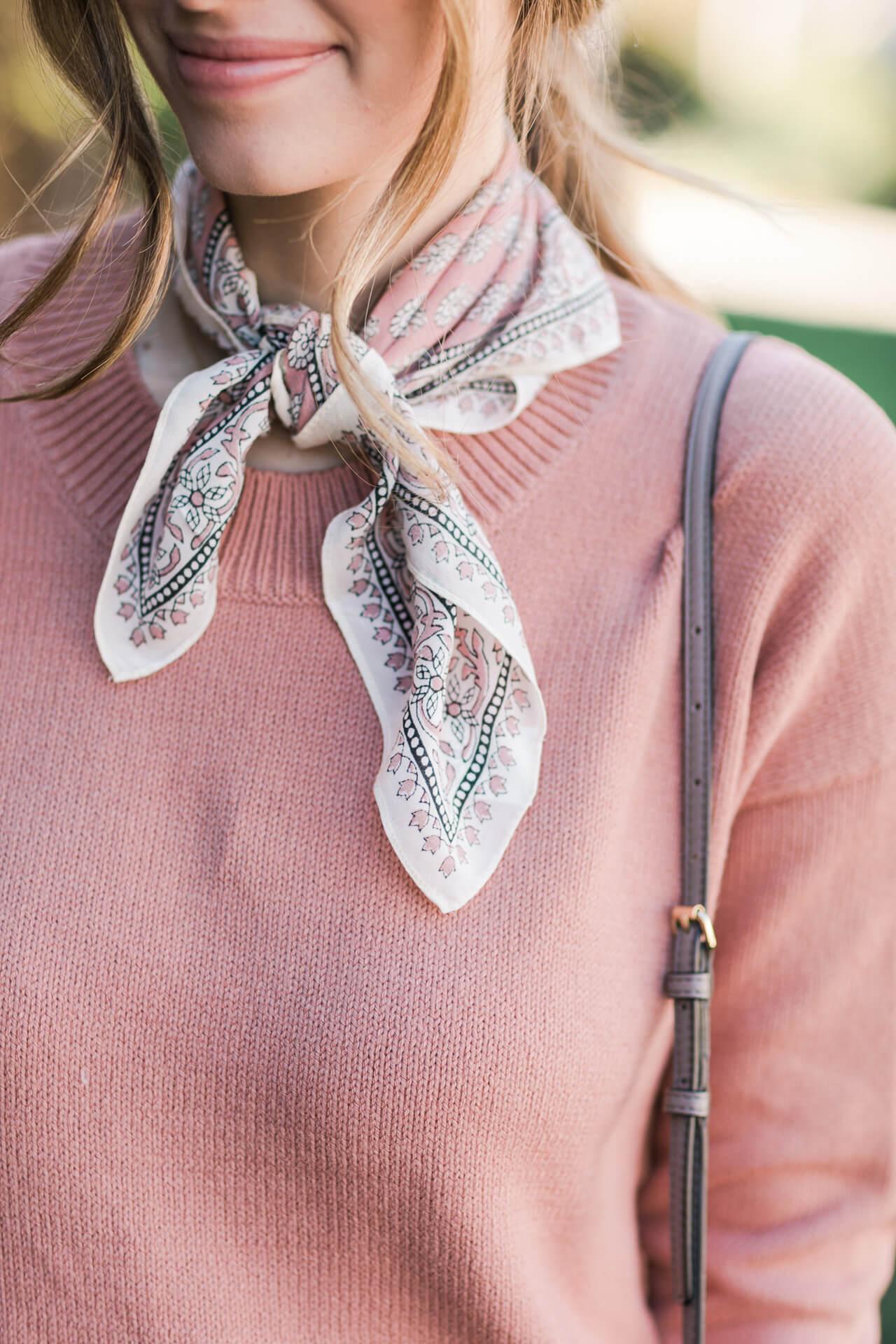 necktie bandana scarf with sweater