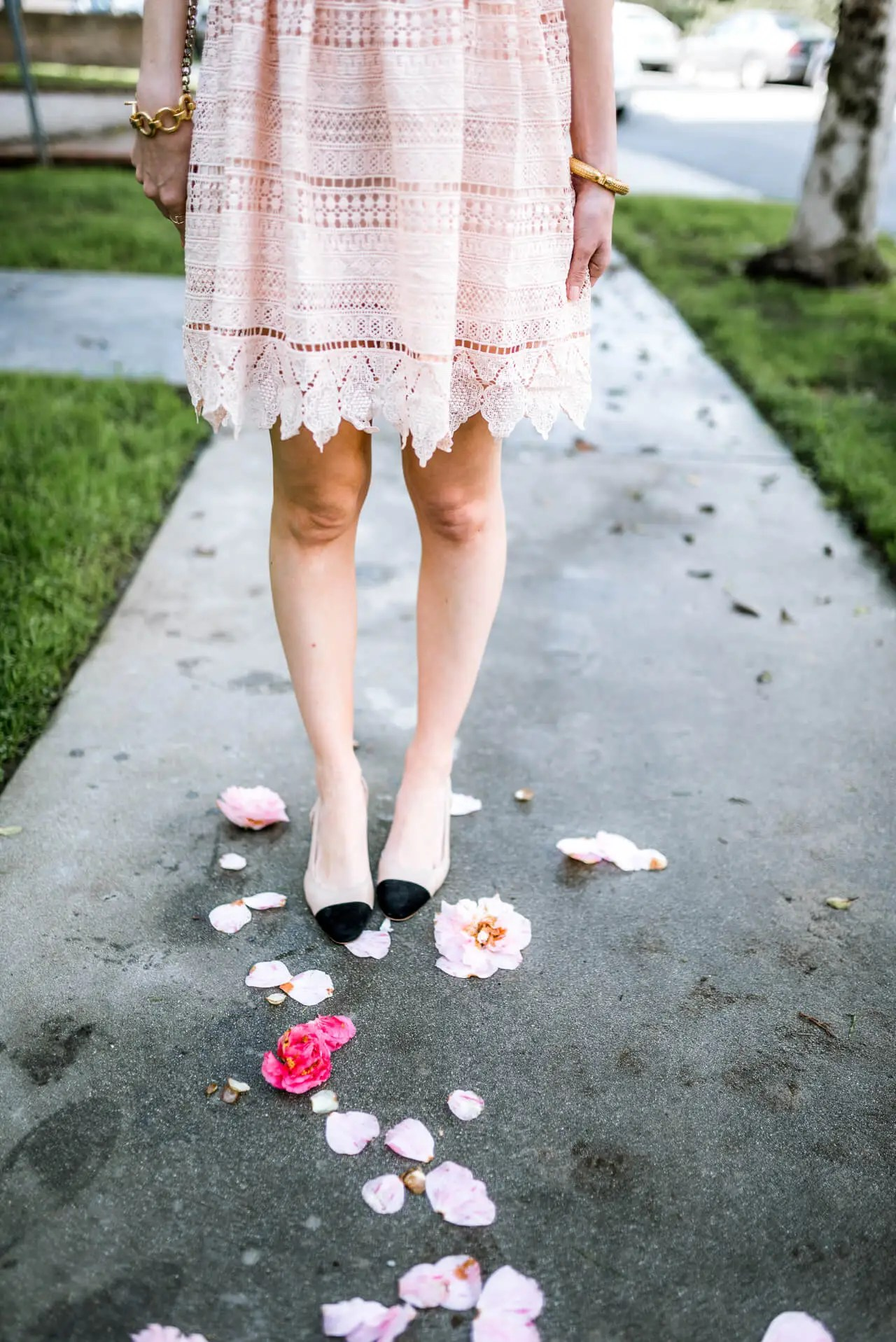 pink lace dress with chanel slingback dupes by ivanka trump