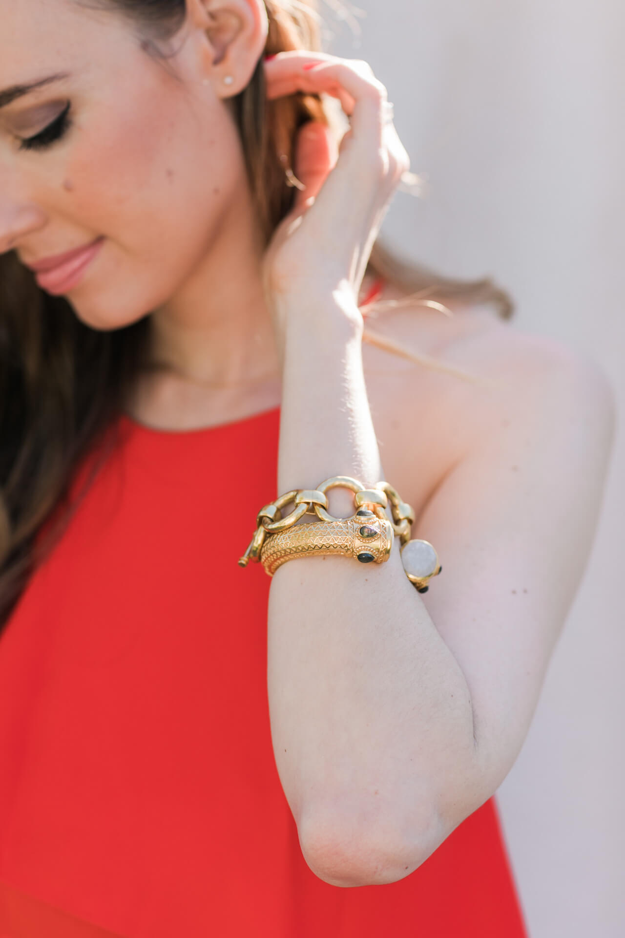 pretty bracelet stacking with julie vos cuff and link bracelet