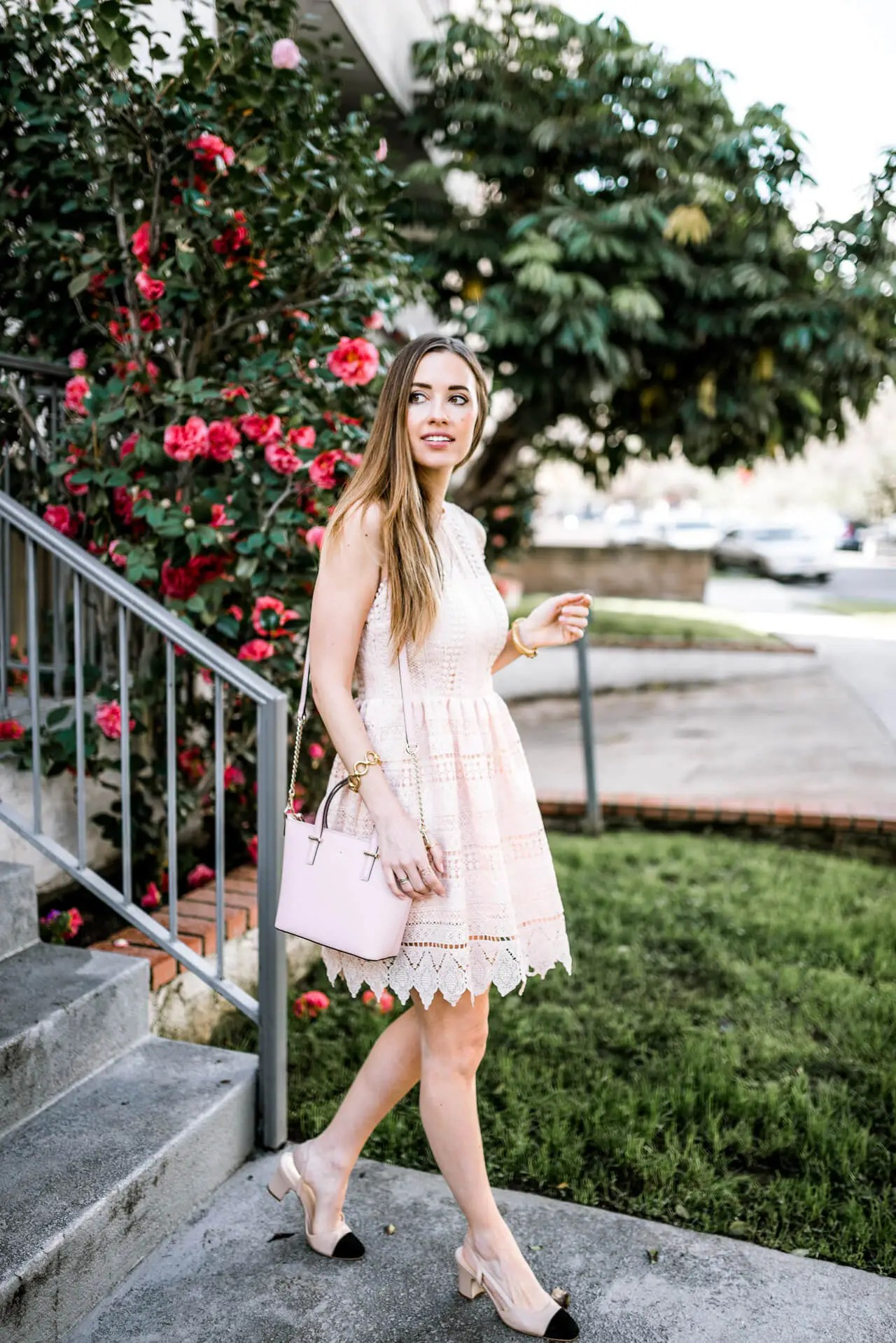 pink dress and bag with cap toe heels