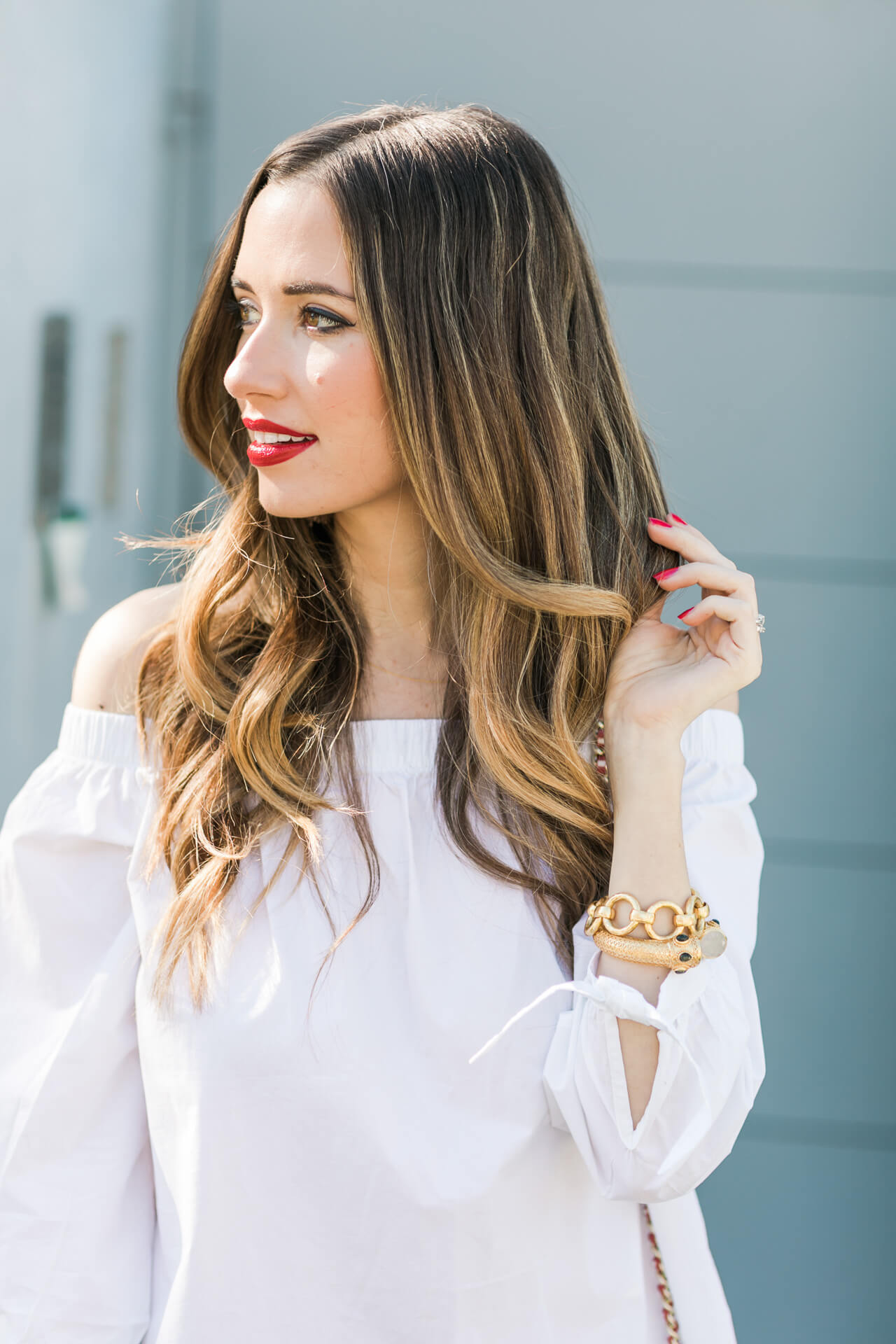 love this white off the shoulder top with tie detail on the sleeves