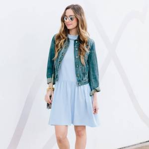 a cute denim jacket with light blue dress