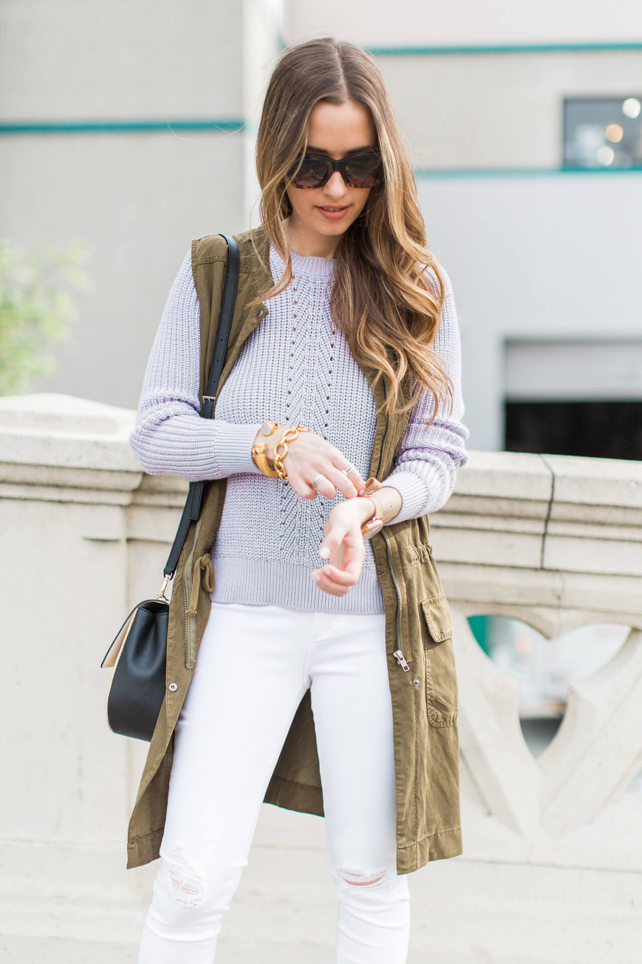 lavender purple sweater with jeans