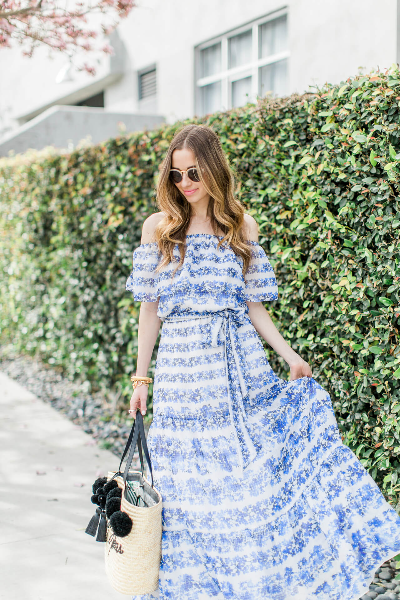 flowy ruffled maxi dress outfit inspiration