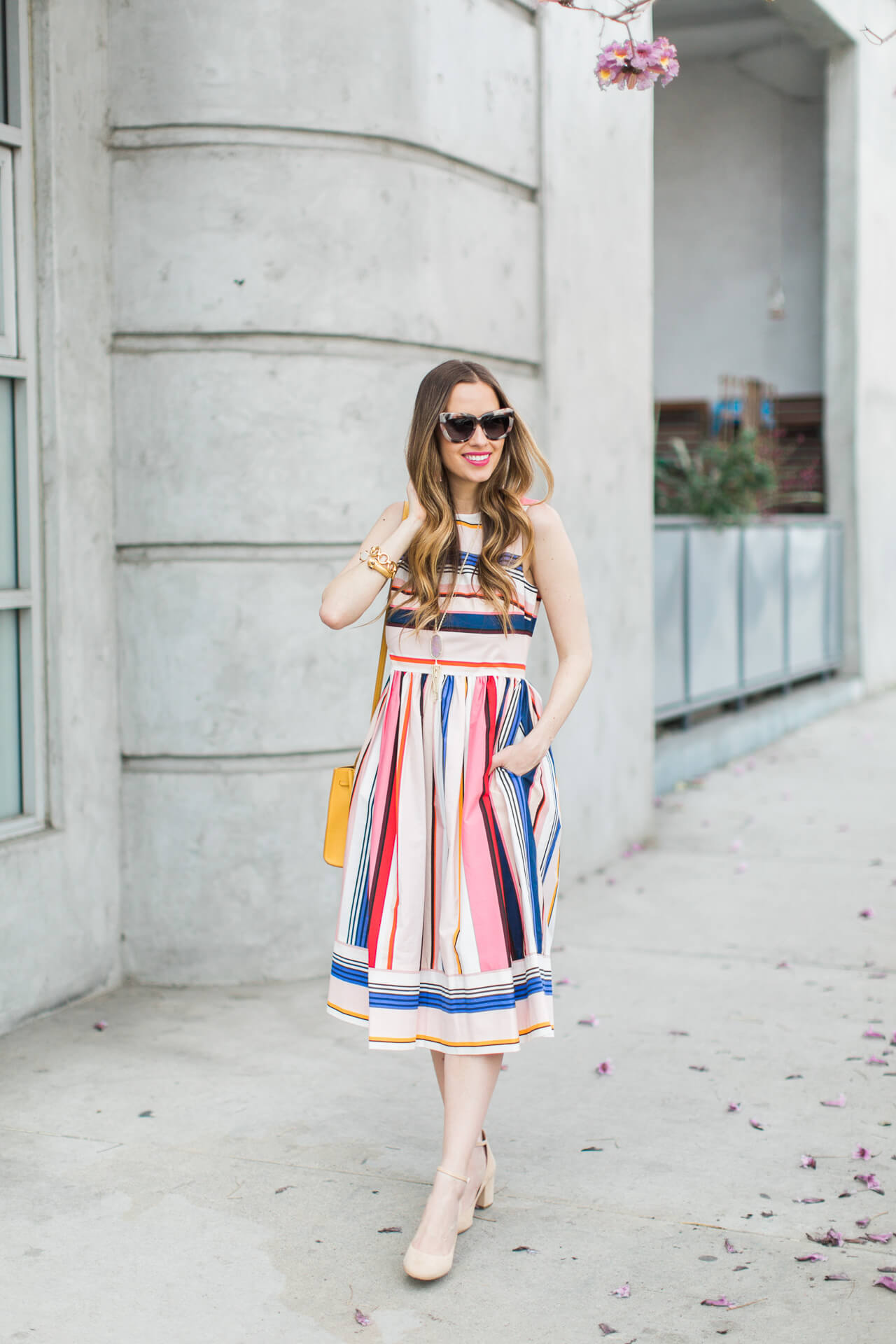 sleeveless striped fit and flare dress from kate spade