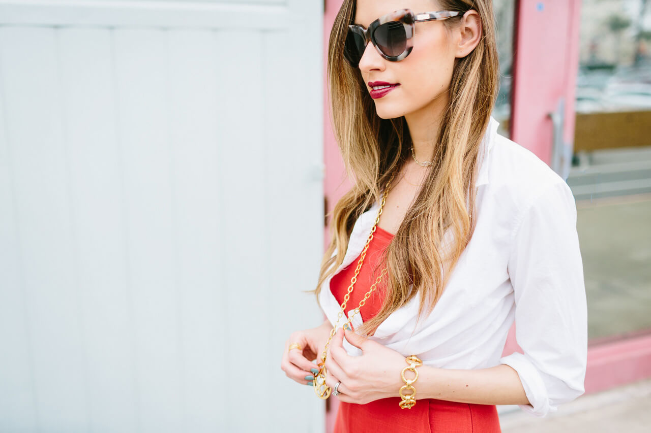 styling a white button-up with a jumpsuit