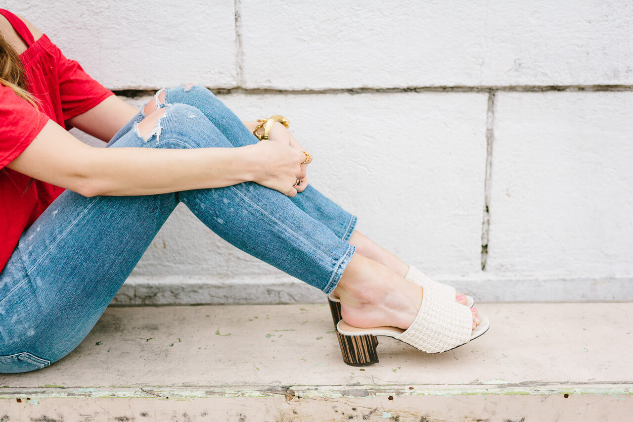 distressed jeans with who what wear for target mule sandals