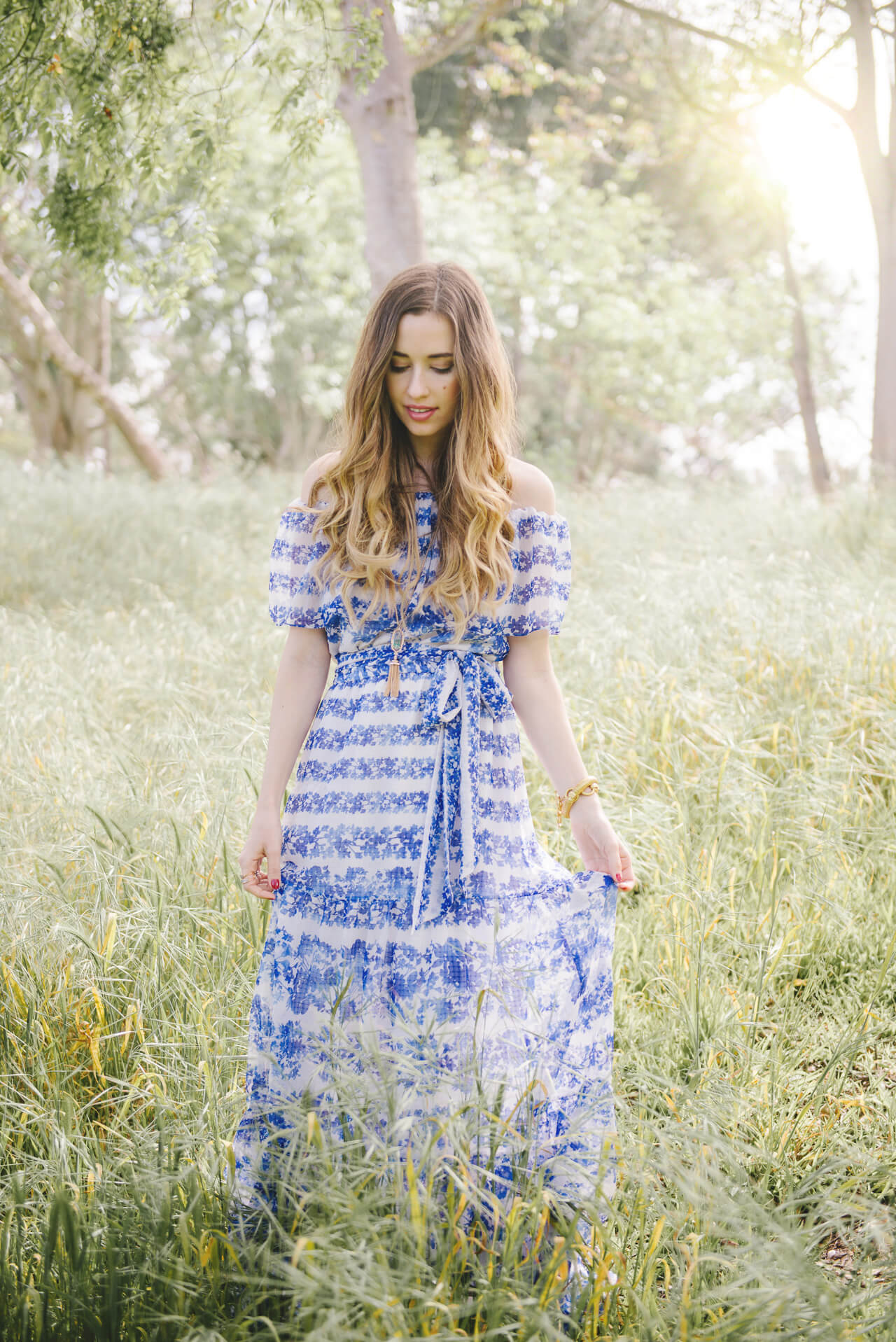 love this blue floral maxi dress