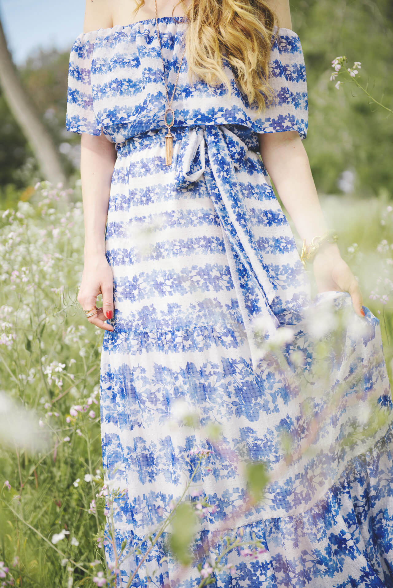 floral off the shoulder maxi dress with tie