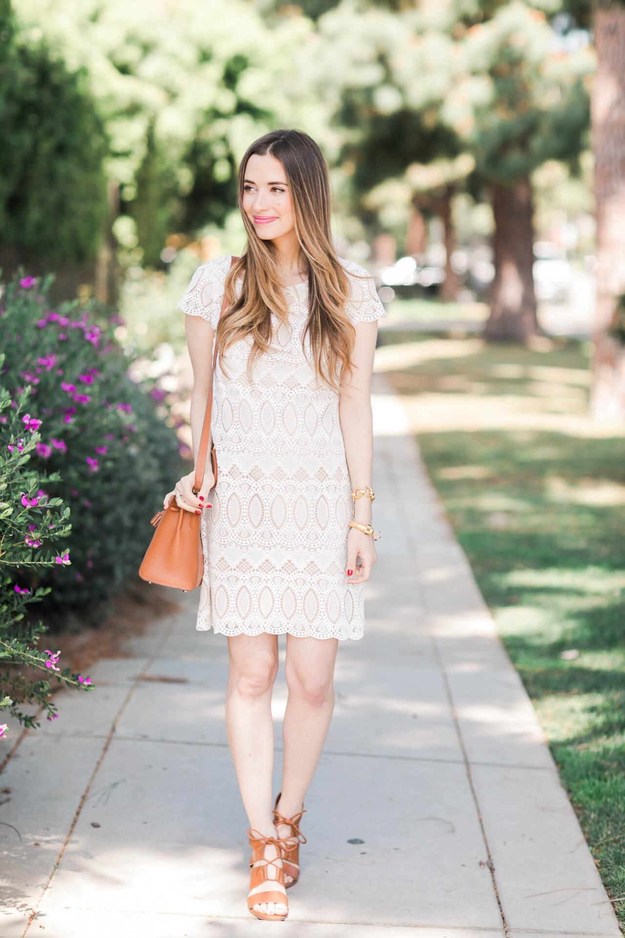 a pretty ivory lace shift dress - eliza j