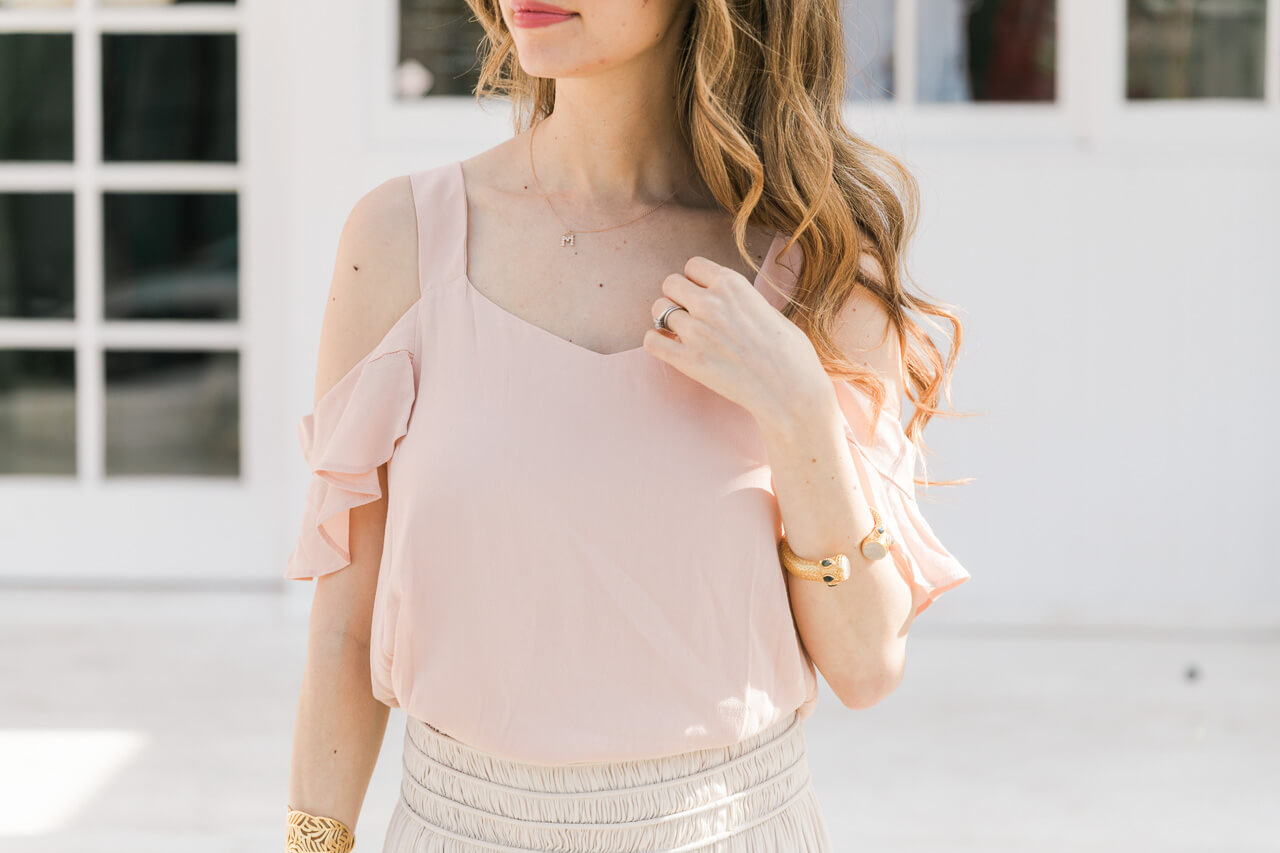 love this pretty cold shoulder blouse