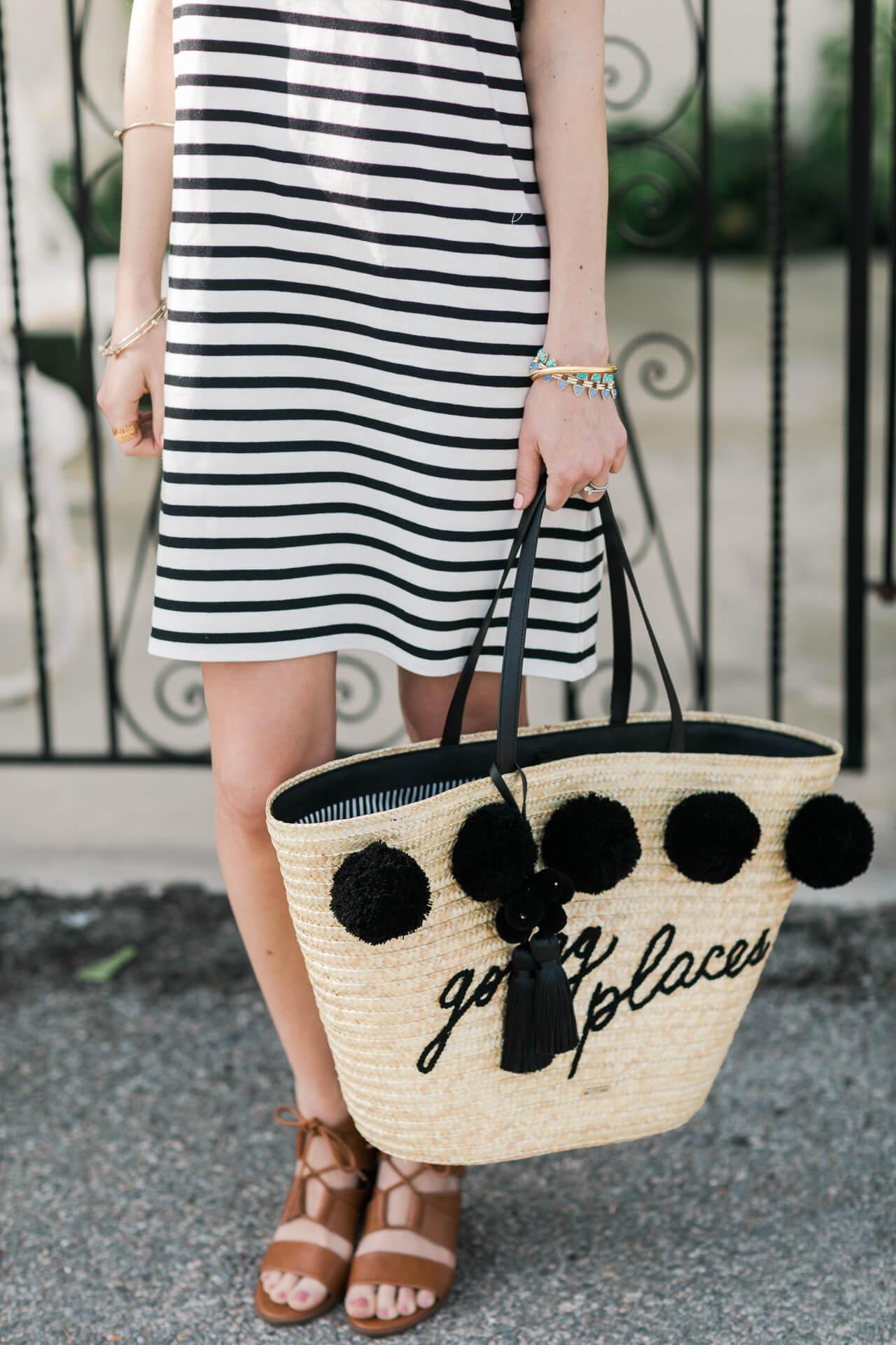 striped dress with straw market tote